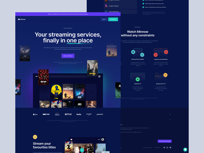 Minnow – Streaming services in one place vod netflix cover notification screen cta blue series cinema movies dark section hero page landing tv www interface ui website