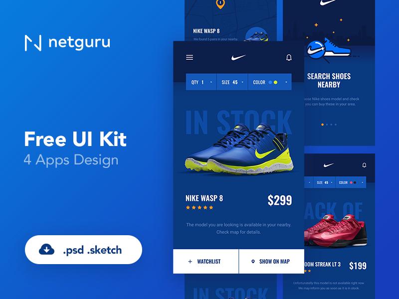 huge discount fe52b da6a7 Freebie - Nike Nearby App - PSD watchlist map pin stock blue search  onboarding shoes mobile