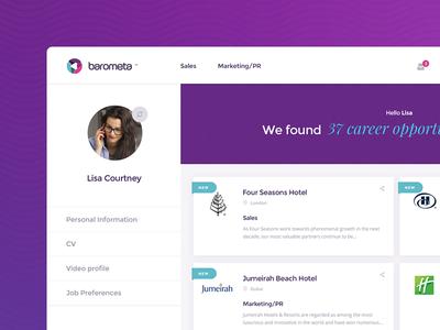 Barometa - Career Opportunities dashboard luxury jobs purple hr new video cv hotel hospitality