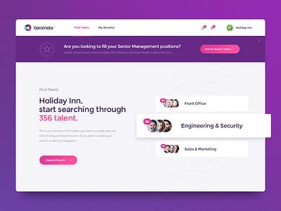 Barometa - Find Talent unlock banner groups hospitality hotel hr jobs luxury rate purple talent find