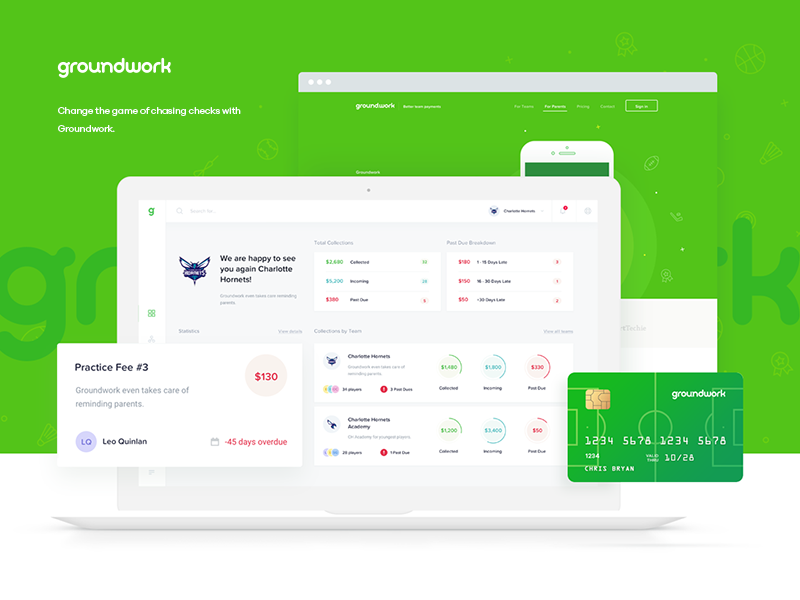 Groundwork - Better team payments website landing dashboard illustration user card credit parents team payment sport groundwork