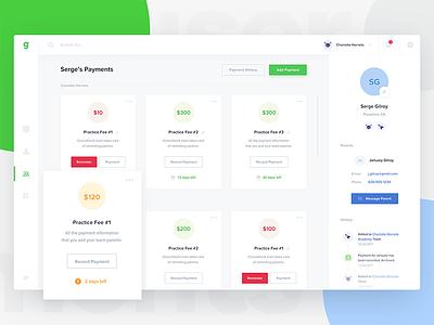 Groundwork - User Payments website timeline dashboard illustration user card credit parents team payment sport profile