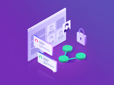 Participants vivid vector orthographic share isometric illustration icon hero gradient lock chat bright