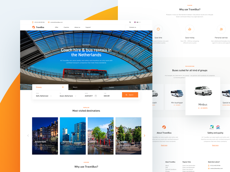 TravelBus - Teaser onepage transport travel bus tabs filter search booking coach website page landing