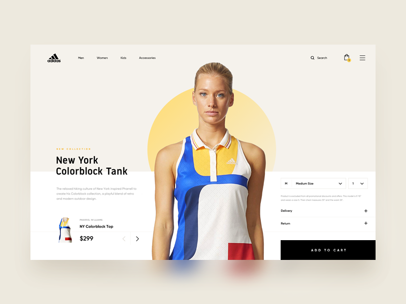 Adidas - Online Store landing one page store product add model wear checkout cart shop hero dashboard