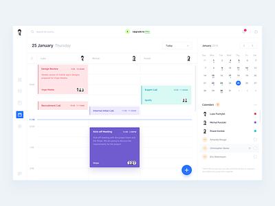 Calendar Client ui pastel contacts interface contact desktop timeline schedule event meeting calendar app