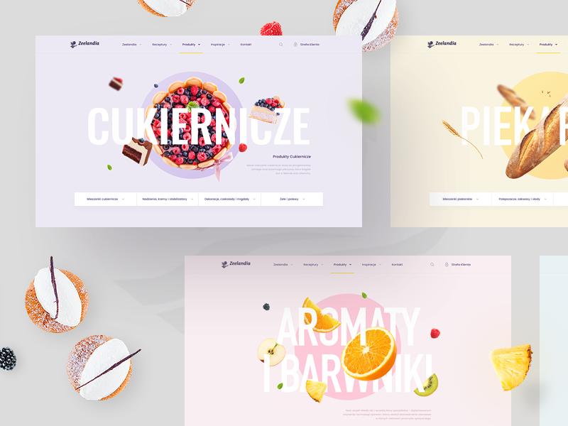 Zeelandia - Products website web ui product onepage landing hero fruit sweets bakery grid top