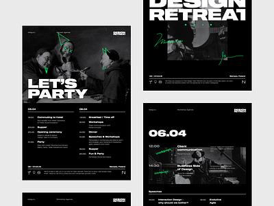 Netguru Design Retreat event design timeline agenda font typography poster retreat logotype logo identity branding