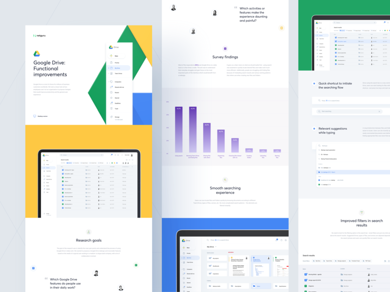 Google Drive - Case Study medium article ux ui web graph cards slides presentation redesign google application