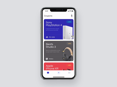 Coupons – Redeem promotional codes madeinuxpin gallery showcase uxpin ui scan code product tab card mobile loading iphone ios prototype interaction design application app animation