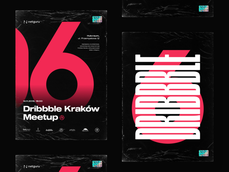 06 Dribbble Kraków Meetup typography condensed font pink event promo poster sticker holo wrap foil cracow kraków meetup six digit letter branding