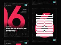 06 Dribbble Kraków Meetup typography condensed font pink event promo poster sticker holo wrap foil cracow kraków meetup six digit letter branding