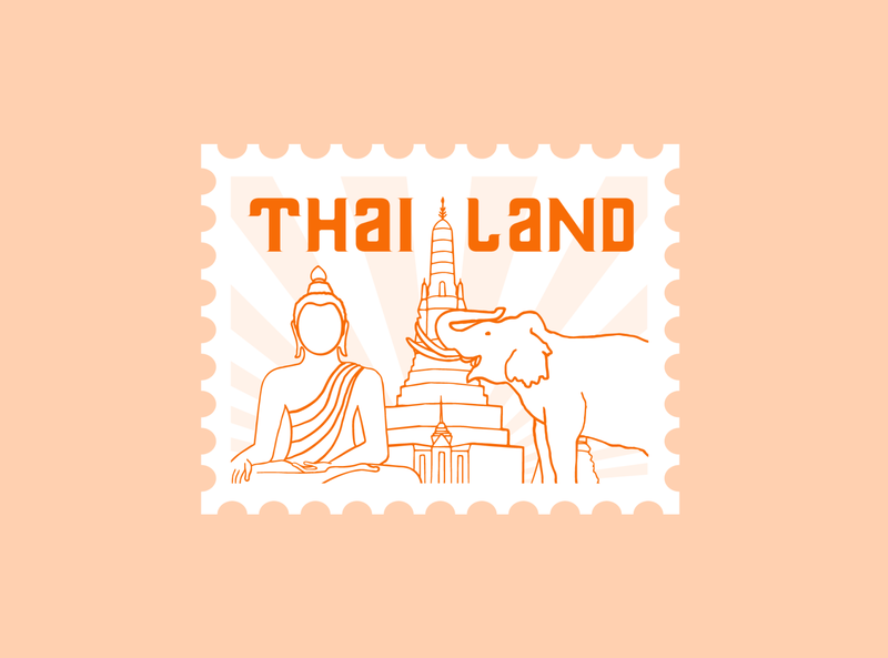 THAILAND STAMP | Dribble Weekly Warm-Up thailand stamp weekly warm-up illustration graphicdesign design