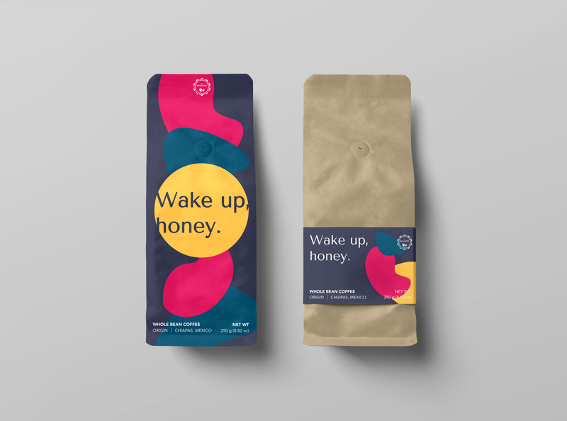 WAKE UP, HONEY | Packaging Design label design label bright colorful beverage packaging coffee shop brand identity packaging design logo pattern coffee coffee bean packagingdesign typography design vector branding illustration graphicdesign