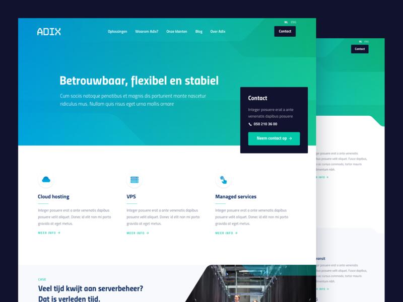 Adix hosting gradient cloud server hosting homepage design homepage icons website webdesign