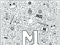 Artist Coloring Book Page