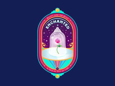 Enchanted Badge illustration magic flower rose vector badge disney