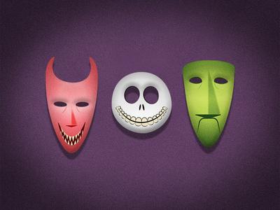 Lock, Shock and Barrel! tim burton illustartion masks halloween nightmare before christmas disney