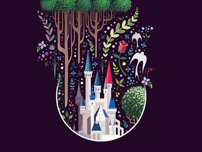 In a far away land long ago... disneyland disney world disney art castle floral illustration vector disney