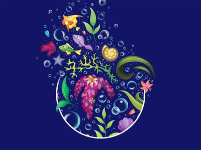 In mysterious fathoms below... fish bubbles water photoshop vector illustration disney