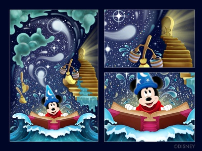 Sorcery in the Sky sorcerer photoshop character mickey mickey mouse illustrator vector illustration disney