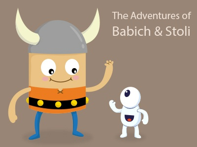 The Adventures of Babich And Stoli character character design cartoon monster cute vector illustration viking warrior hero orange helmet