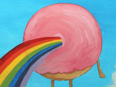 Rainbow Donut WIP wip painting rainbow donut pink sky blue character