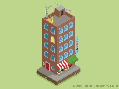 Jumbo's Building building isometric apartment bunny green red brown vector illustration