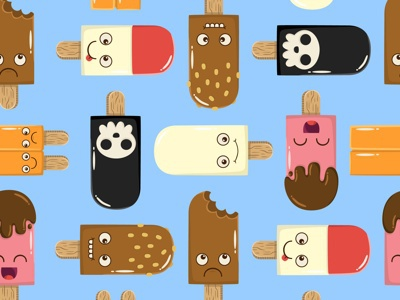 Ice Cream Characters Repeating Pattern ice cream character cute kawaii repeating pattern food dessert vector chocolate