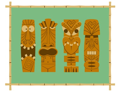 My Collection of Tikis - Limited Edition Giclee Print green bamboo tiki kitsch retro print giclee