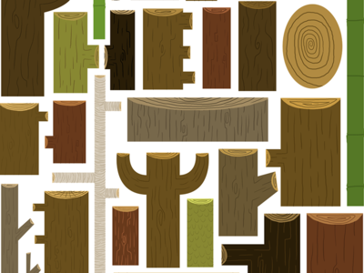 My Collection Of Wood brown green illustration nature wood collection