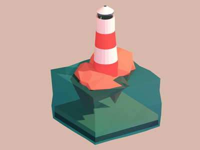Obligatory lighthouse lowpoly low poly 3d blender lighthouse water isometric island sea