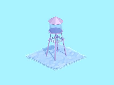 Water tower illustration pastel isometric blender 3d