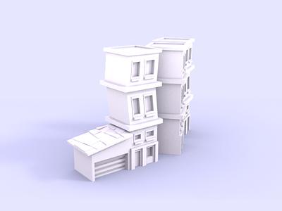 Paper Buildings cartoon building low poly blender 3d 3d modeling