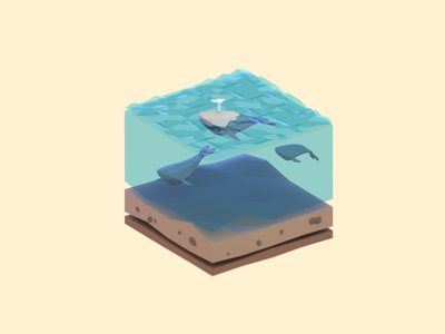 Whales illustration 3d blender low poly water isometric sea whale