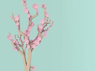 Blossom season blender low poly 3d tree cherry tree sakura blossom