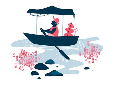 Springs of Naum ohrid macedonia organic plants rowing rowing boat water editorial minimalist boat flat illustration