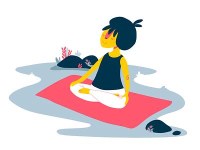 Meditation cmyk peaceful mindfulness mediation yoga character design flat illustration
