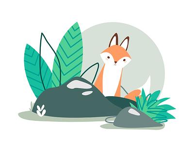 Woodland I - Fox cute childrens illustration rocks nature fox animal flat illustration