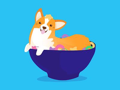 Cereal handdrawn hand drawn affinity designer dog illustration cute cereal corgi dog flat illustration art