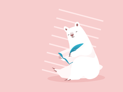 Once upon a bear mindfulness writing notebook feather editorial character design graphic design vector bear flat art illustration