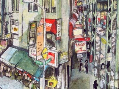 Bushwick watercolor streetpainting streetscens aquarel watercolor drawing bushwick capsulefineart newyorkcitypaintings anselmdastner