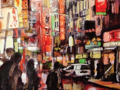 Chinatown streetpainting streetscens aquarel watercolor drawing bushwick capsulefineart newyorkcitypaintings anselmdastner