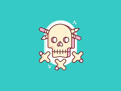 """D&D"" badge icon brand pink xxx skull"