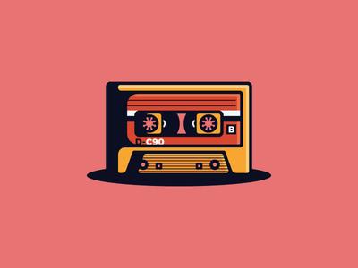 Cassette tape mixtape shadows hard pink badge icon cassette