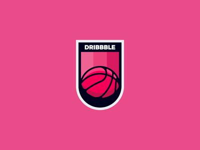 Dribbble Sticker shadows hard pink basket badge dribbble