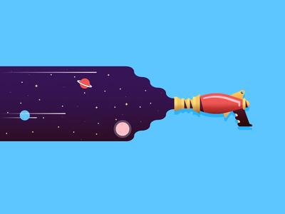 Raygun weapon stars space raygun laser illustration cosmic blaster alien adventure