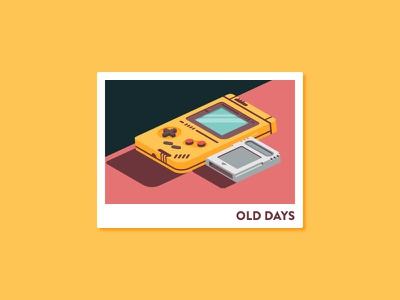 Old Days game boy design brand illustration icon isometric cartridge