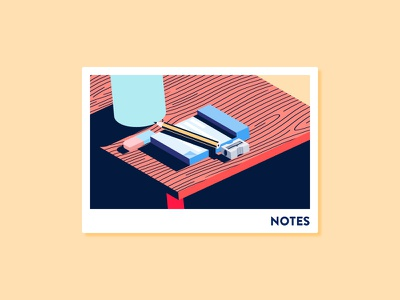 Notes card pencil sharpener eraser notepad isometric notes