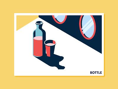 Bottle print illustration isometric icon brand identity